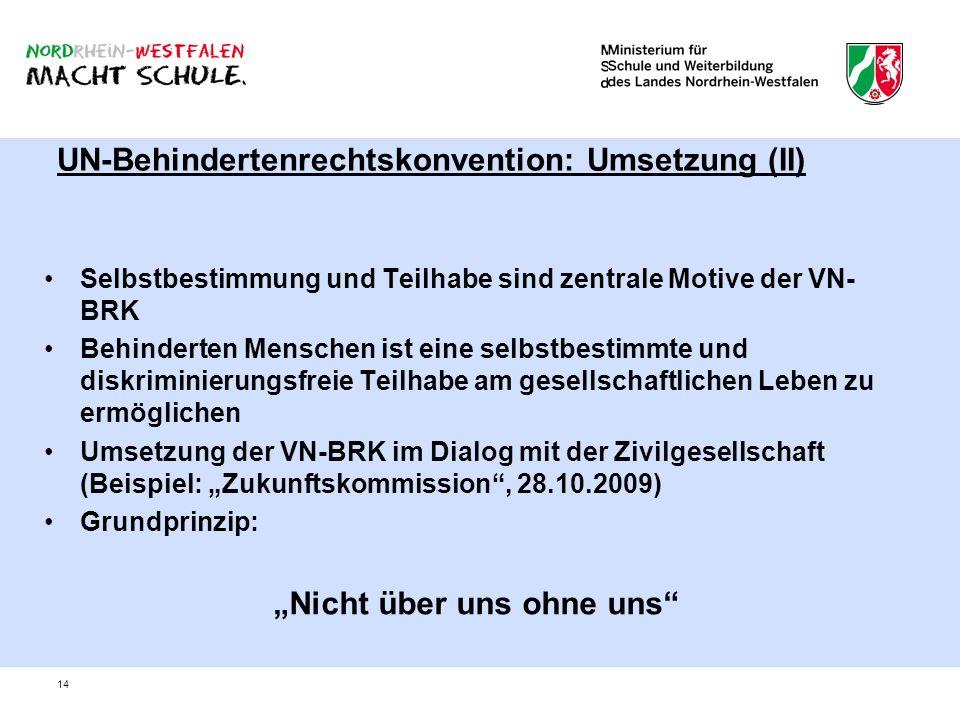 14 UN-Behindertenrechtskonvention: Umsetzung (II) Selbstbestimmung und Teilhabe sind zentrale Motive der VN- BRK Behinderten Menschen ist eine selbstb