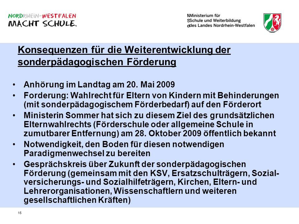 15 Konsequenzen für die Weiterentwicklung der sonderpädagogischen Förderung Anhörung im Landtag am 20. Mai 2009 Forderung: Wahlrecht für Eltern von Ki