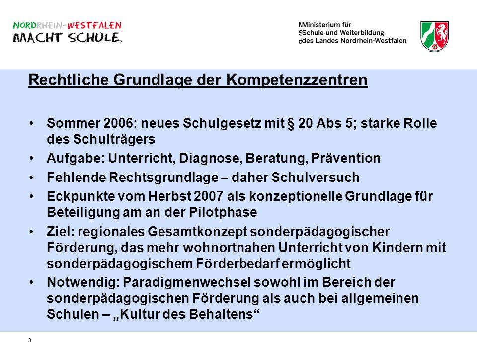 3 Rechtliche Grundlage der Kompetenzzentren Sommer 2006: neues Schulgesetz mit § 20 Abs 5; starke Rolle des Schulträgers Aufgabe: Unterricht, Diagnose