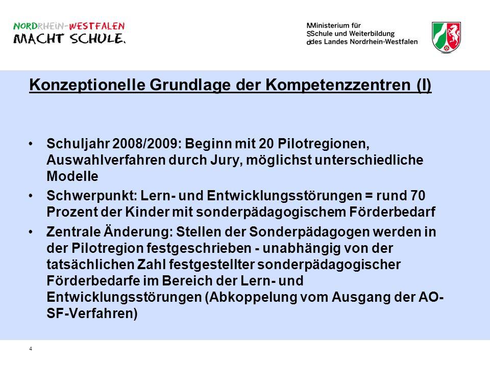4 Konzeptionelle Grundlage der Kompetenzzentren (I) Schuljahr 2008/2009: Beginn mit 20 Pilotregionen, Auswahlverfahren durch Jury, möglichst unterschi