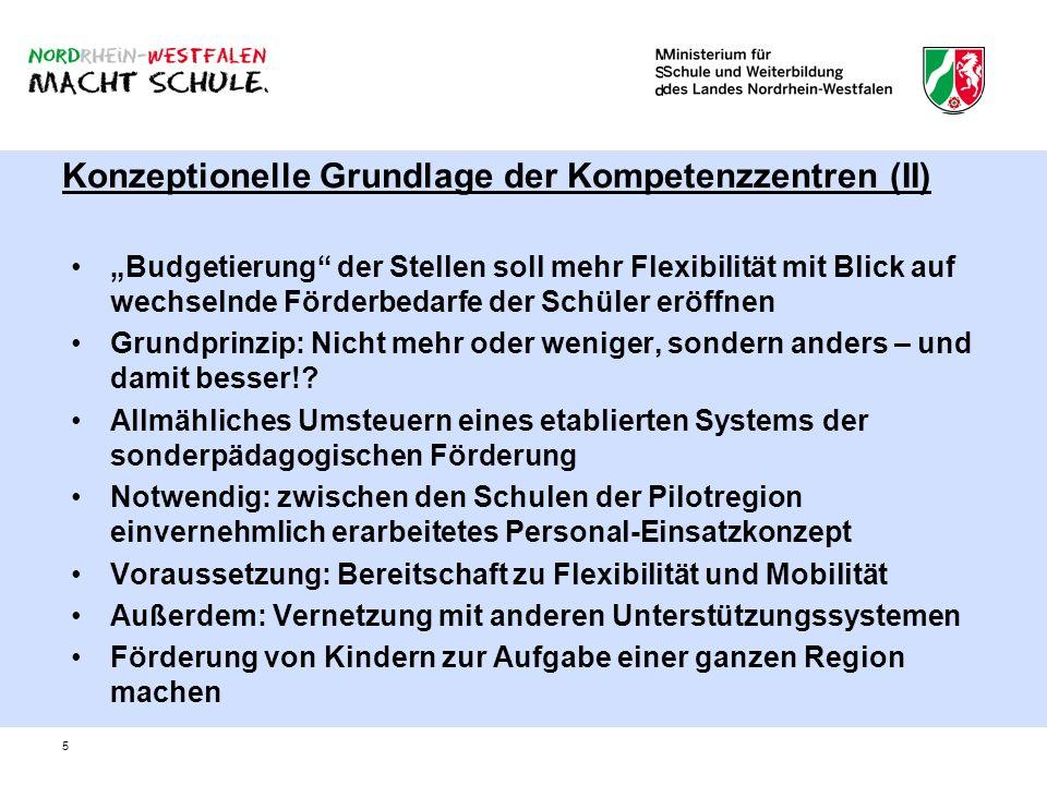 5 Konzeptionelle Grundlage der Kompetenzzentren (II) Budgetierung der Stellen soll mehr Flexibilität mit Blick auf wechselnde Förderbedarfe der Schüle