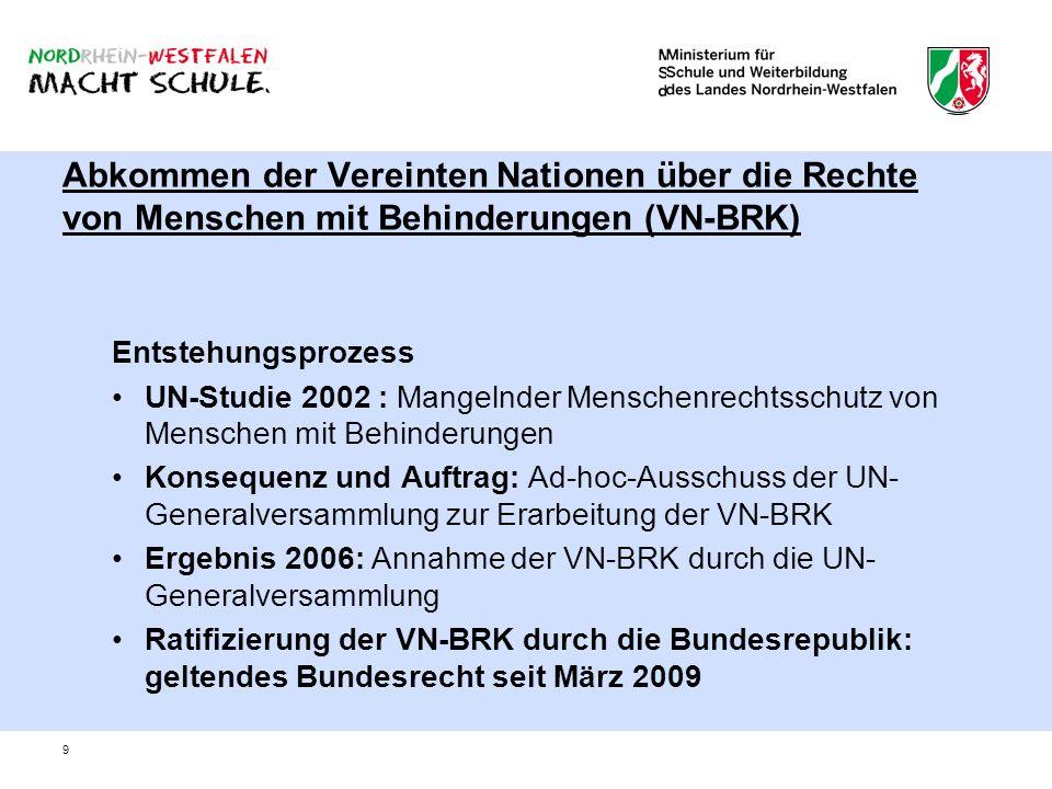 9 Abkommen der Vereinten Nationen über die Rechte von Menschen mit Behinderungen (VN-BRK) Entstehungsprozess UN-Studie 2002 : Mangelnder Menschenrecht