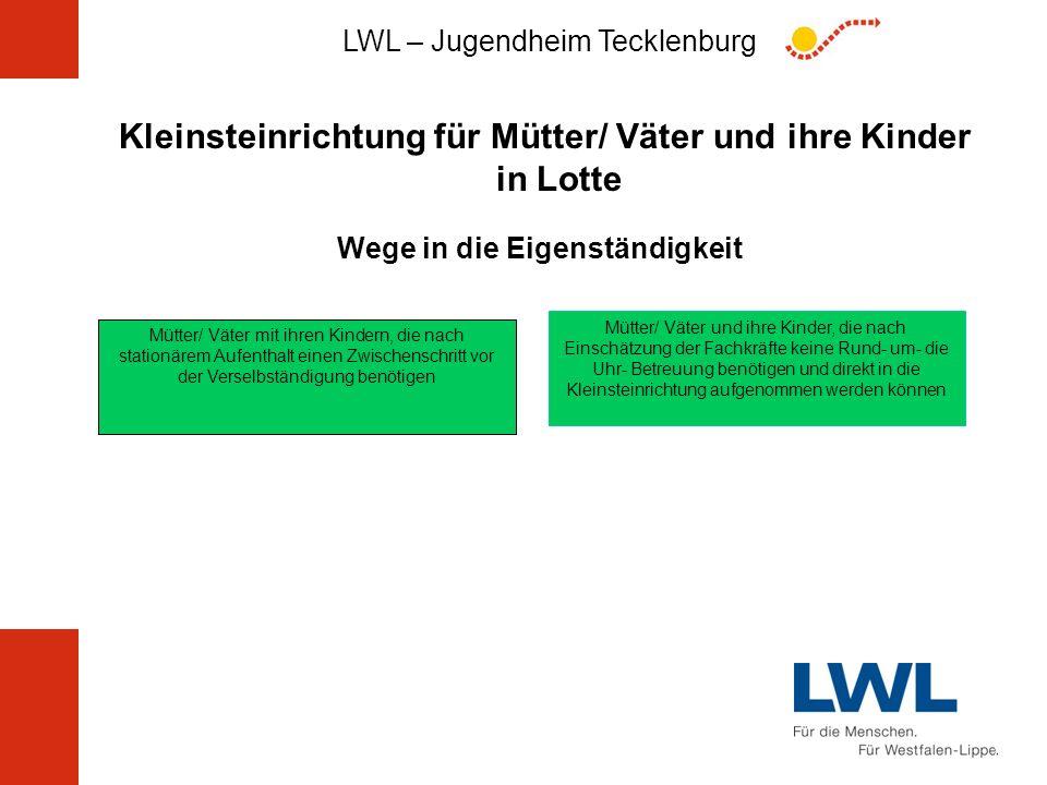 LWL – Jugendheim Tecklenburg Kleinsteinrichtung für Mütter/ Väter und ihre Kinder in Lotte Wege in die Eigenständigkeit Mütter/ Väter mit ihren Kinder