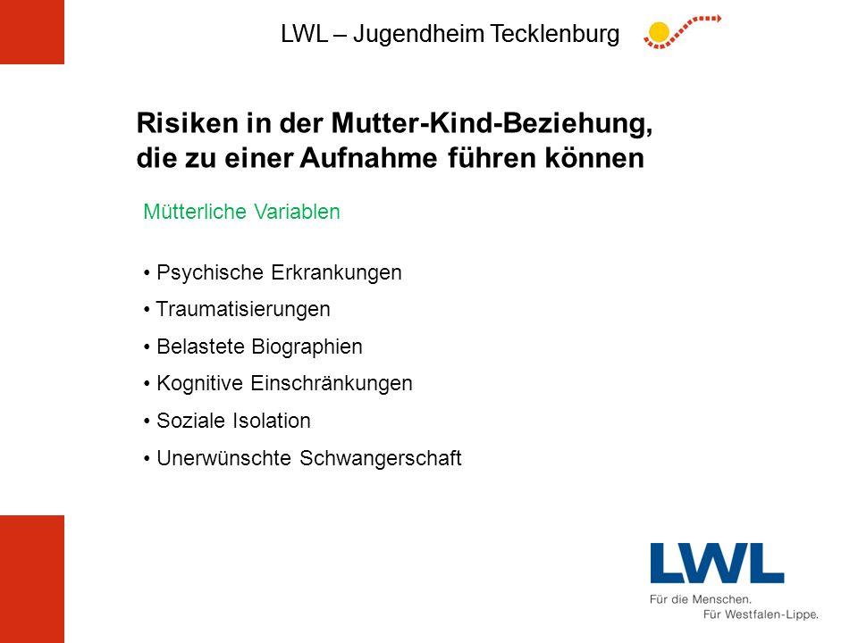 LWL – Jugendheim Tecklenburg Risiken in der Mutter-Kind-Beziehung, die zu einer Aufnahme führen können Mütterliche Variablen Psychische Erkrankungen T