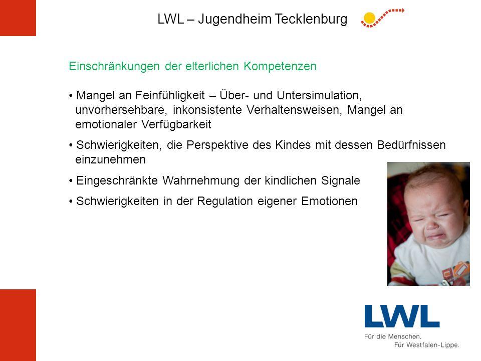 LWL – Jugendheim Tecklenburg Einschränkungen der elterlichen Kompetenzen Mangel an Feinfühligkeit – Über- und Untersimulation, unvorhersehbare, inkons