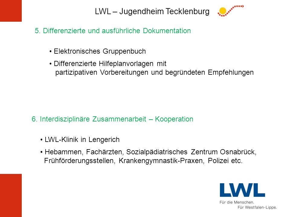 LWL – Jugendheim Tecklenburg 5. Differenzierte und ausführliche Dokumentation Elektronisches Gruppenbuch Differenzierte Hilfeplanvorlagen mit partizip