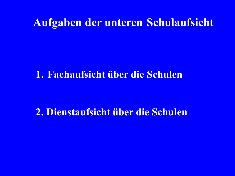 Aufgaben der unteren Schulaufsicht 1.Fachaufsicht über die Schulen 2. Dienstaufsicht über die Schulen