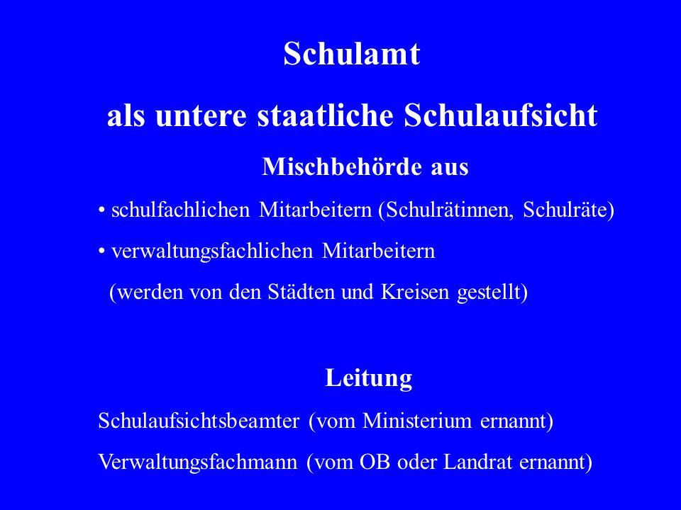 Schulamt als untere staatliche Schulaufsicht Mischbehörde aus schulfachlichen Mitarbeitern (Schulrätinnen, Schulräte) verwaltungsfachlichen Mitarbeite