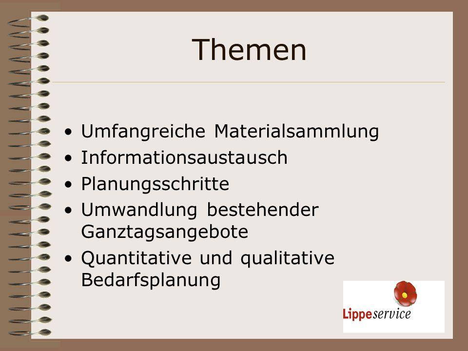 Themen Umfangreiche Materialsammlung Informationsaustausch Planungsschritte Umwandlung bestehender Ganztagsangebote Quantitative und qualitative Bedar