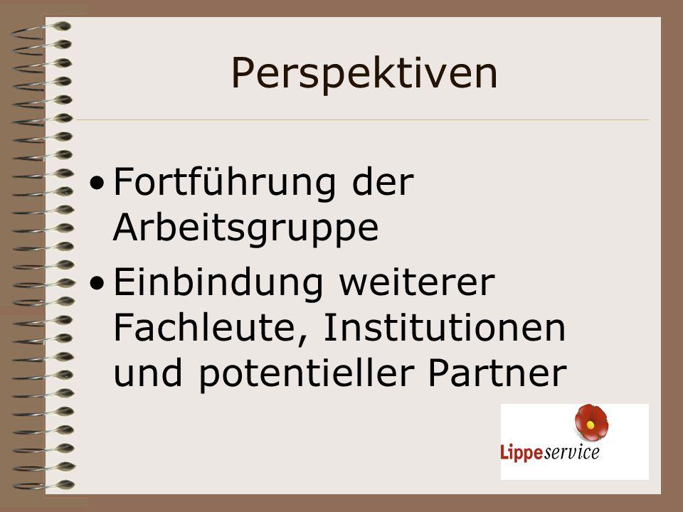 Perspektiven Fortführung der Arbeitsgruppe Einbindung weiterer Fachleute, Institutionen und potentieller Partner