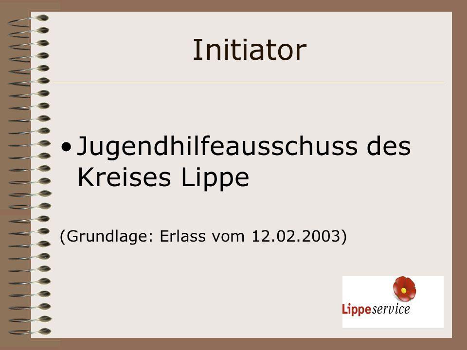 Initiator Jugendhilfeausschuss des Kreises Lippe (Grundlage: Erlass vom 12.02.2003)