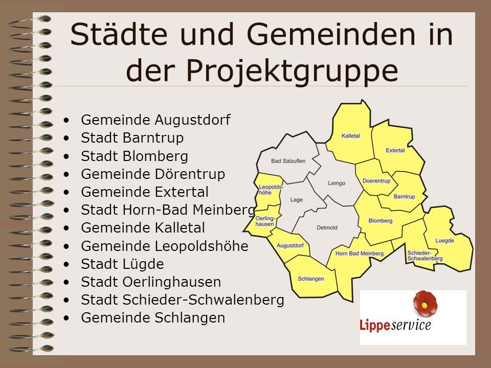 Städte und Gemeinden in der Projektgruppe Gemeinde Augustdorf Stadt Barntrup Stadt Blomberg Gemeinde Dörentrup Gemeinde Extertal Stadt Horn-Bad Meinbe