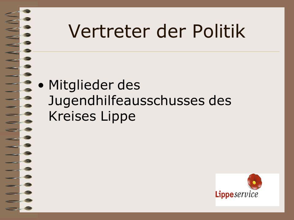 Vertreter der Politik Mitglieder des Jugendhilfeausschusses des Kreises Lippe