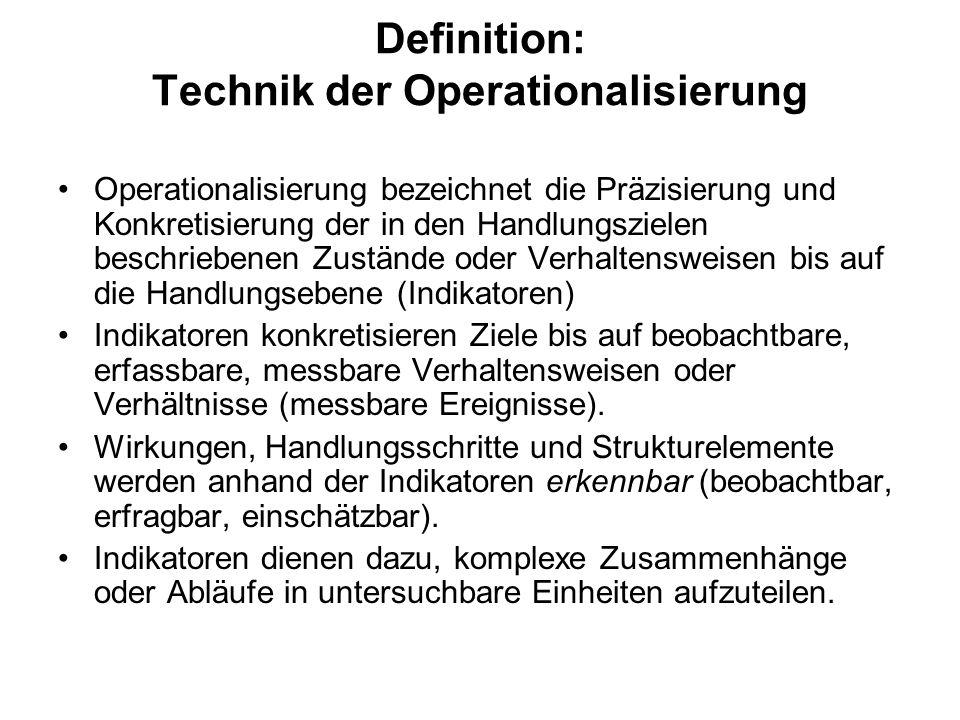 Definition: Technik der Operationalisierung Operationalisierung bezeichnet die Präzisierung und Konkretisierung der in den Handlungszielen beschrieben
