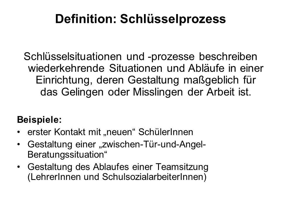 Definition: Schlüsselprozess Schlüsselsituationen und prozesse beschreiben wiederkehrende Situationen und Abläufe in einer Einrichtung, deren Gestaltu