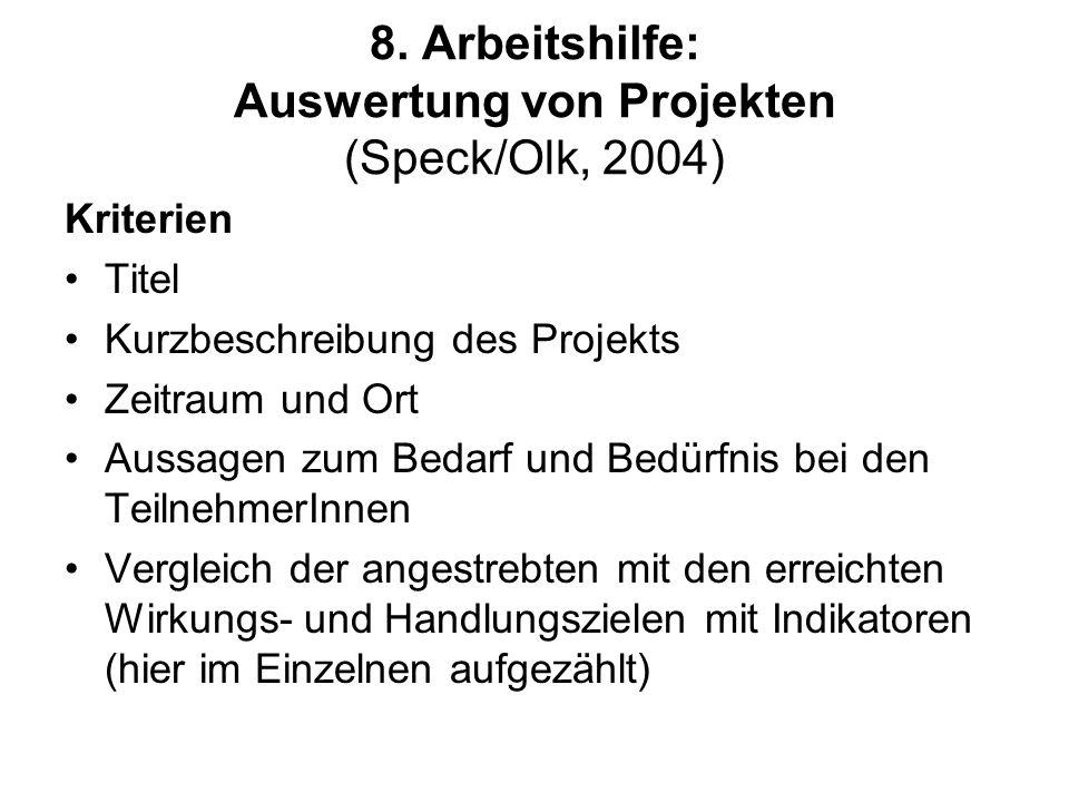 8. Arbeitshilfe: Auswertung von Projekten (Speck/Olk, 2004) Kriterien Titel Kurzbeschreibung des Projekts Zeitraum und Ort Aussagen zum Bedarf und Bed