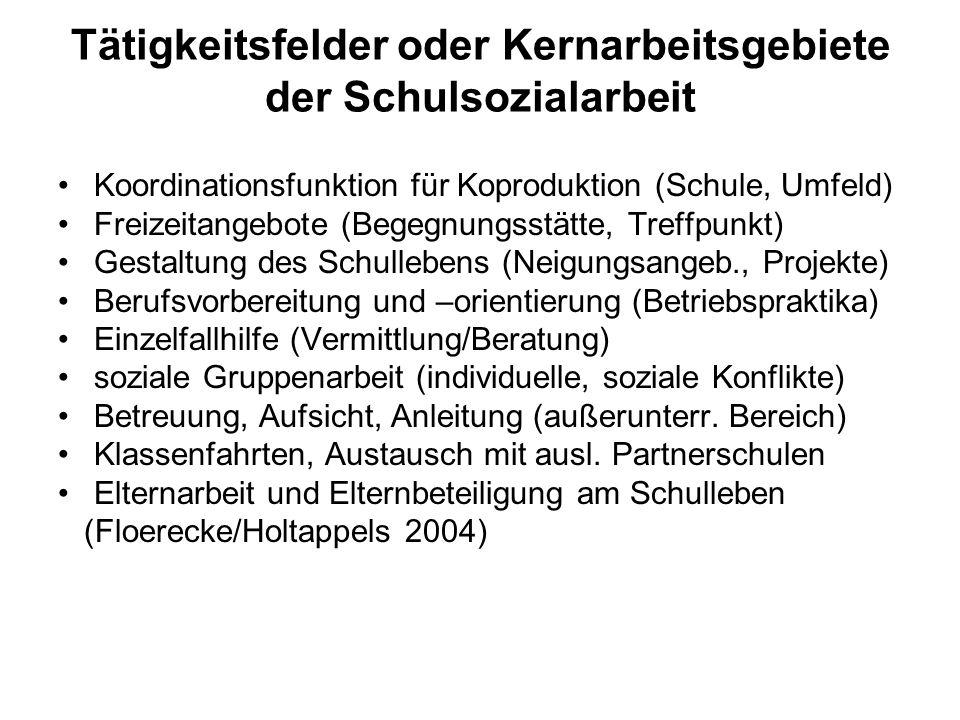 Tätigkeitsfelder oder Kernarbeitsgebiete der Schulsozialarbeit Koordinationsfunktion für Koproduktion (Schule, Umfeld) Freizeitangebote (Begegnungsstä