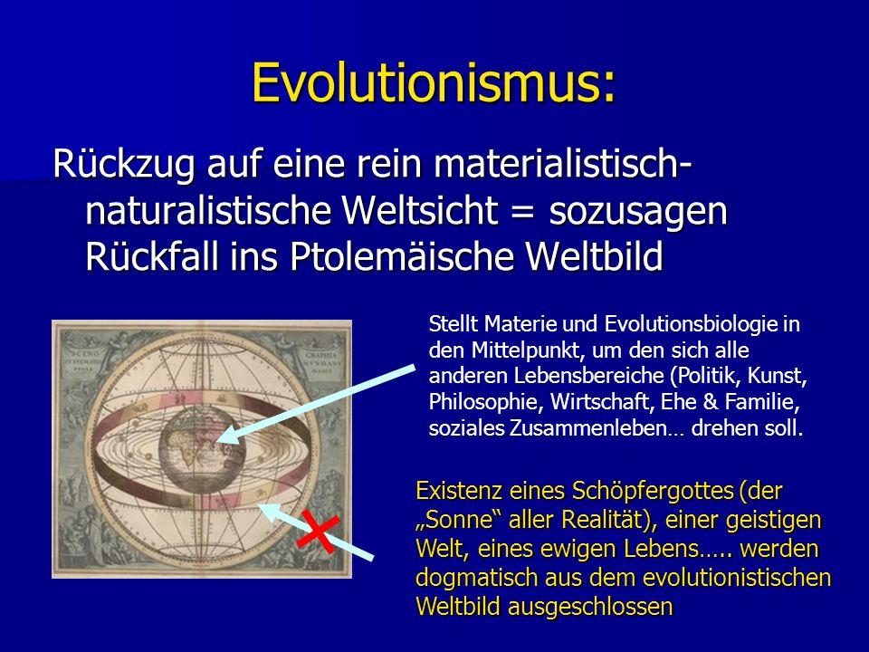 Evolutionismus: Rückzug auf eine rein materialistisch- naturalistische Weltsicht = sozusagen Rückfall ins Ptolemäische Weltbild Existenz eines Schöpfergottes (der Sonne aller Realität), einer geistigen Welt, eines ewigen Lebens…..