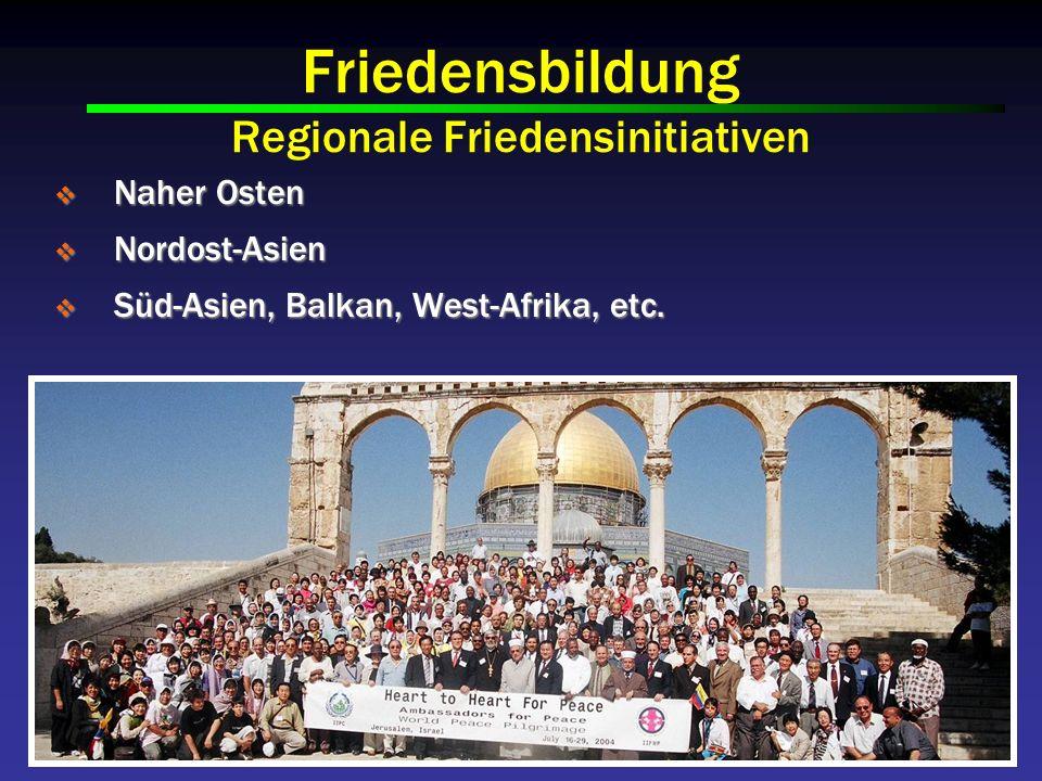 Friedensbildung Regionale Friedensinitiativen Naher Osten Naher Osten Nordost-Asien Nordost-Asien Süd-Asien, Balkan, West-Afrika, etc.