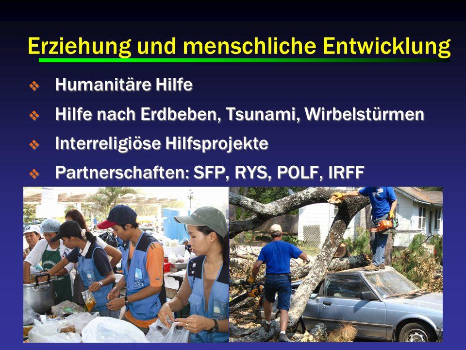 Humanitäre Hilfe Humanitäre Hilfe Hilfe nach Erdbeben, Tsunami, Wirbelstürmen Hilfe nach Erdbeben, Tsunami, Wirbelstürmen Interreligiöse Hilfsprojekte Interreligiöse Hilfsprojekte Partnerschaften: SFP, RYS, POLF, IRFF Partnerschaften: SFP, RYS, POLF, IRFF Erziehung und menschliche Entwicklung