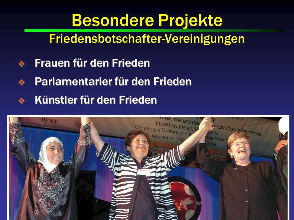 Besondere Projekte Friedensbotschafter-Vereinigungen Frauen für den Frieden Frauen für den Frieden Parlamentarier für den Frieden Parlamentarier für den Frieden Künstler für den Frieden Künstler für den Frieden