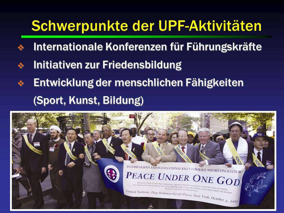 Schwerpunkte der UPF-Aktivitäten Internationale Konferenzen für Führungskräfte Internationale Konferenzen für Führungskräfte Initiativen zur Friedensbildung Initiativen zur Friedensbildung Entwicklung der menschlichen Fähigkeiten (Sport, Kunst, Bildung) Entwicklung der menschlichen Fähigkeiten (Sport, Kunst, Bildung) Medien und Kommunikation Medien und Kommunikation