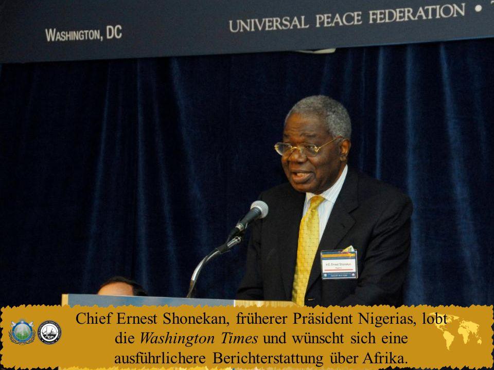Chief Ernest Shonekan, früherer Präsident Nigerias, lobt die Washington Times und wünscht sich eine ausführlichere Berichterstattung über Afrika.