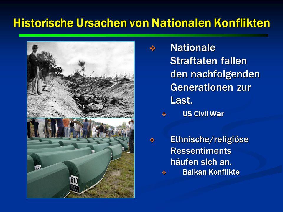 11 Historische Ursachen von Nationalen Konflikten Nationale Straftaten fallen den nachfolgenden Generationen zur Last. Nationale Straftaten fallen den