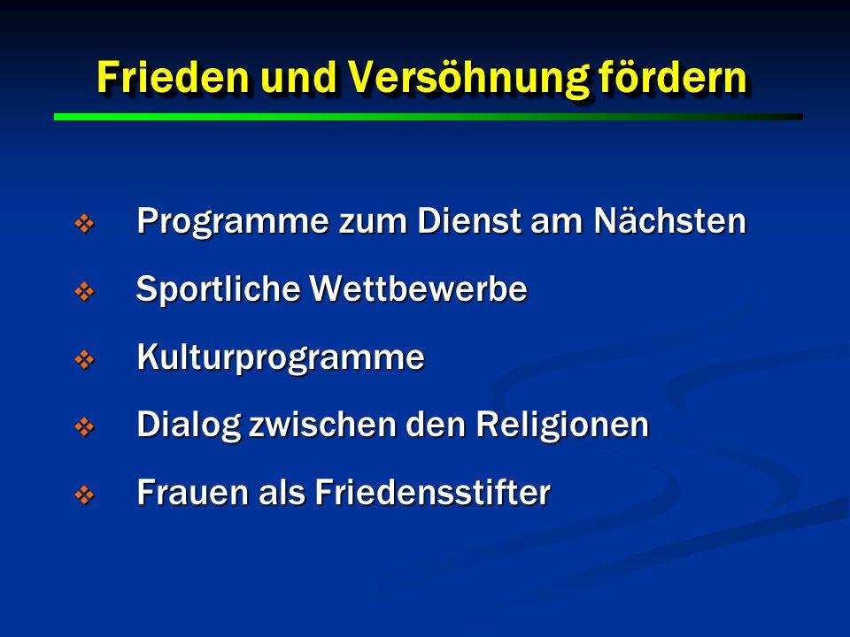 30 Frieden und Versöhnung fördern Programme zum Dienst am Nächsten Programme zum Dienst am Nächsten Sportliche Wettbewerbe Sportliche Wettbewerbe Kult
