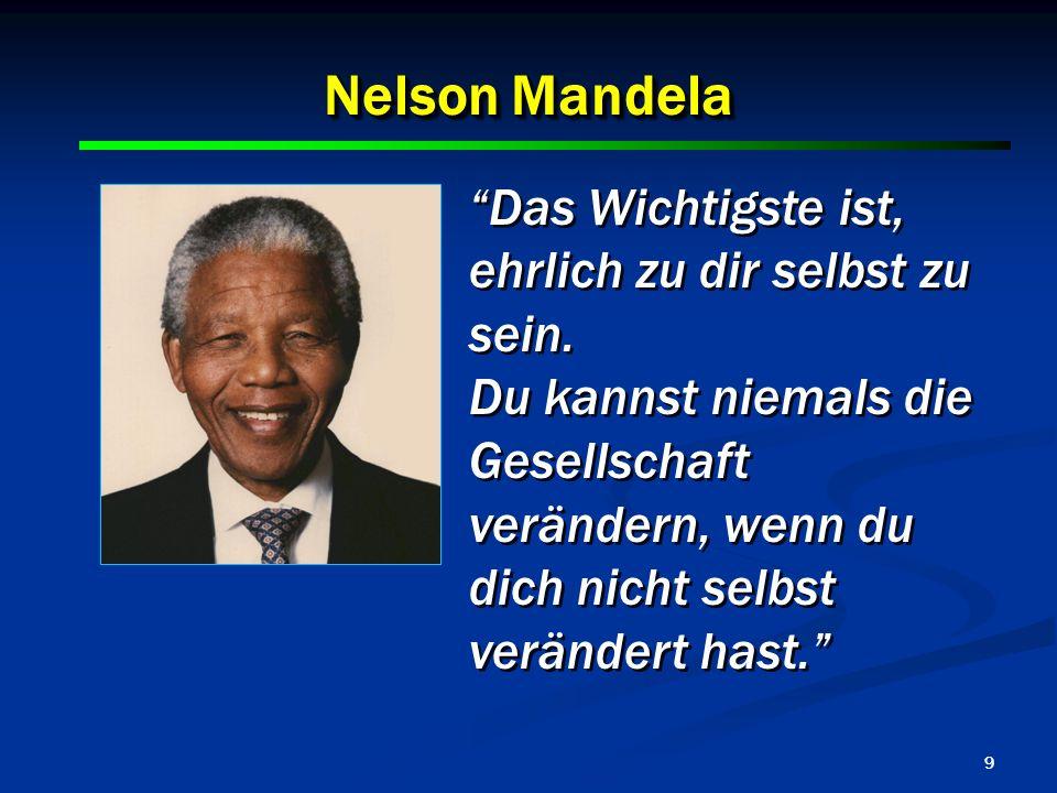 9 Nelson Mandela Das Wichtigste ist, ehrlich zu dir selbst zu sein. Du kannst niemals die Gesellschaft verändern, wenn du dich nicht selbst verändert