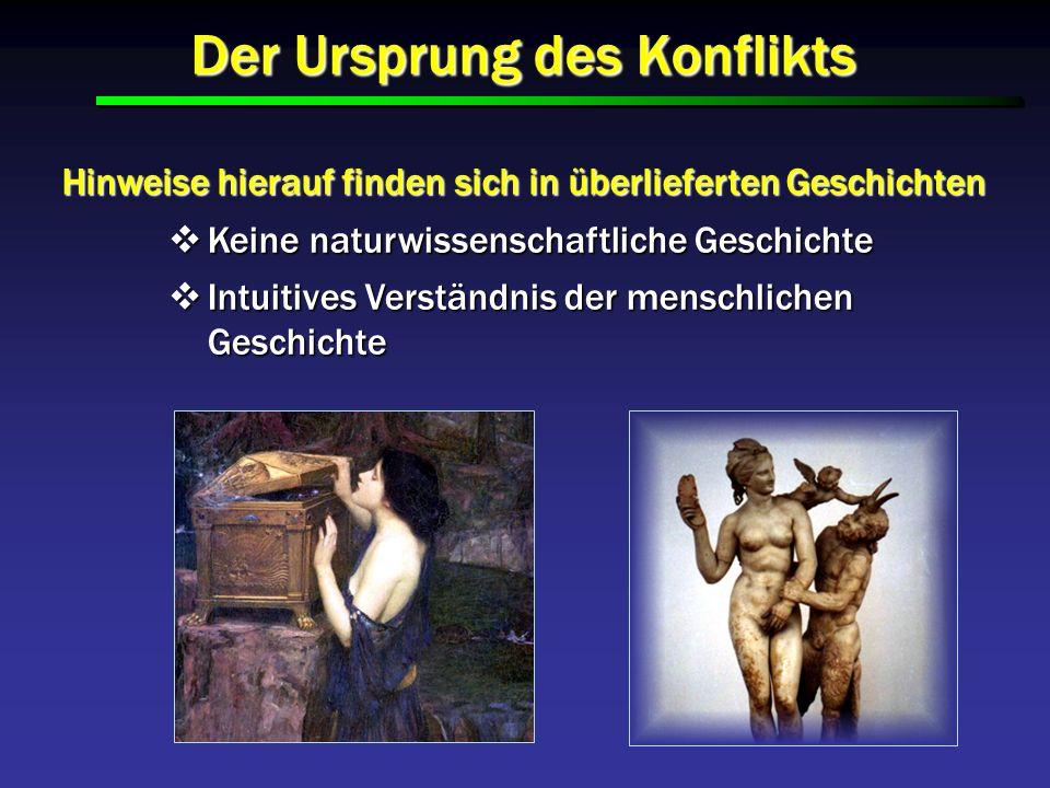 Der Ursprung des Konflikts Hinweise hierauf finden sich in überlieferten Geschichten Keine naturwissenschaftliche Geschichte Keine naturwissenschaftli