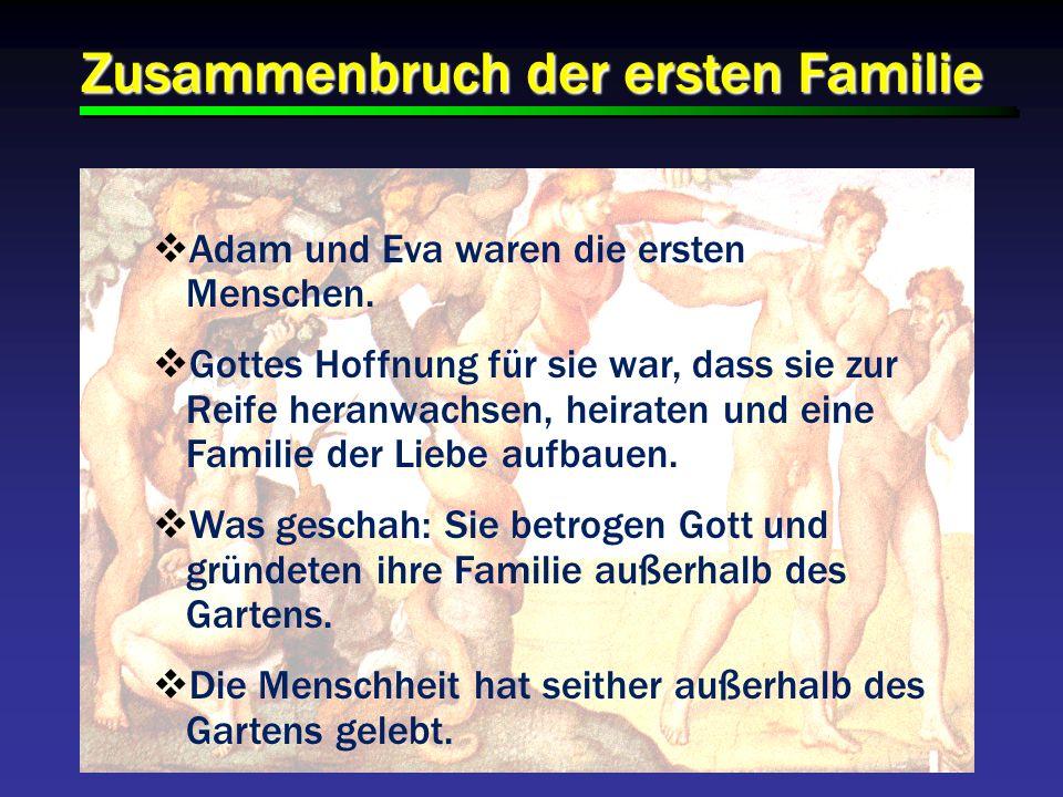 Zusammenbruch der ersten Familie Adam und Eva waren die ersten Menschen. Gottes Hoffnung für sie war, dass sie zur Reife heranwachsen, heiraten und ei