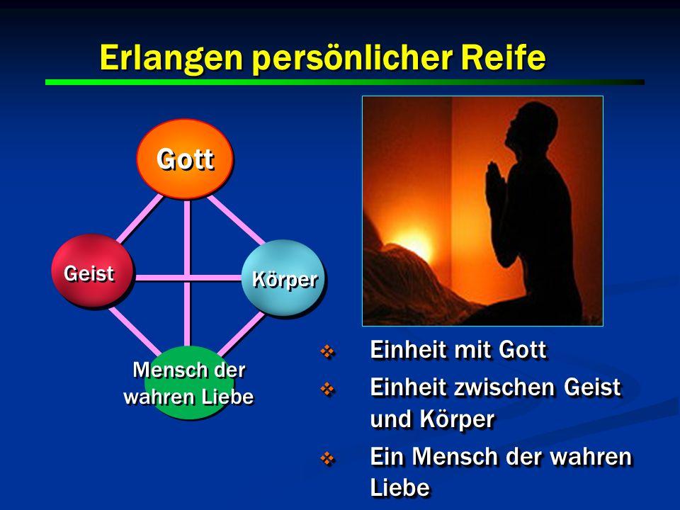 15 Erlangen persönlicher Reife Gott Geist Körper Mensch der wahren Liebe Einheit mit Gott Einheit mit Gott Einheit zwischen Geist und Körper Einheit z