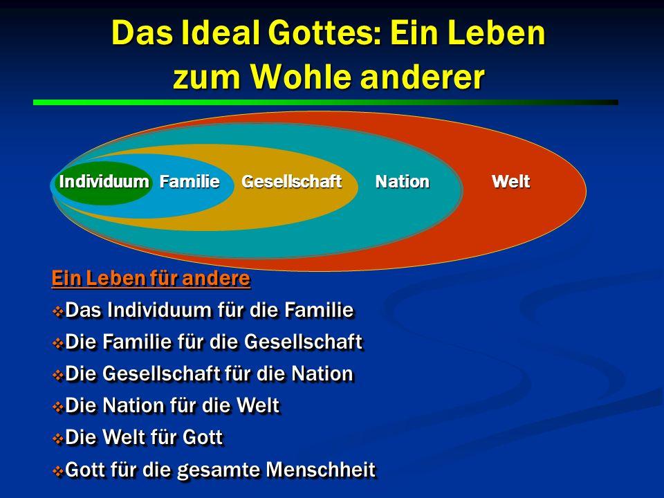 23 Das Ideal Gottes: Ein Leben zum Wohle anderer 23 Gesellschaft FamilieNationWelt Individuum Ein Leben für andere Das Individuum für die Familie Das