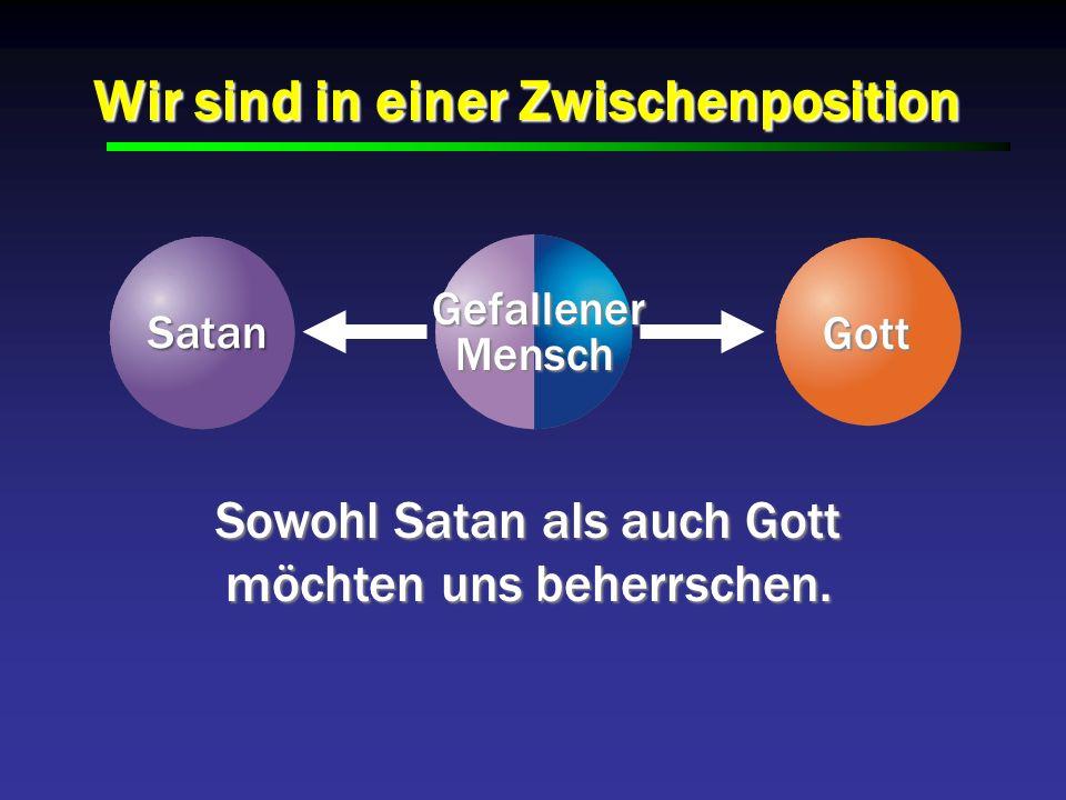 Wir sind in einer Zwischenposition Sowohl Satan als auch Gott möchten uns beherrschen. Satan Satan Gefallener Gefallener Mensch Mensch Gott Gott