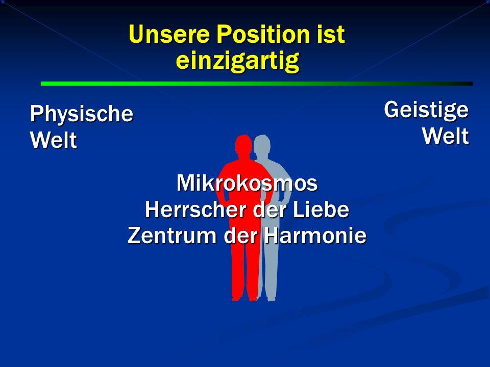 Geistige Welt Welt PhysischeWelt Unsere Position ist einzigartig Mikrokosmos Herrscher der Liebe Zentrum der Harmonie