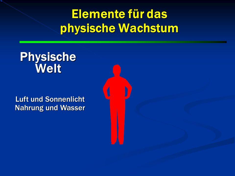 PhysischeWelt Elemente für das physische Wachstum Luft und Sonnenlicht Nahrung und Wasser