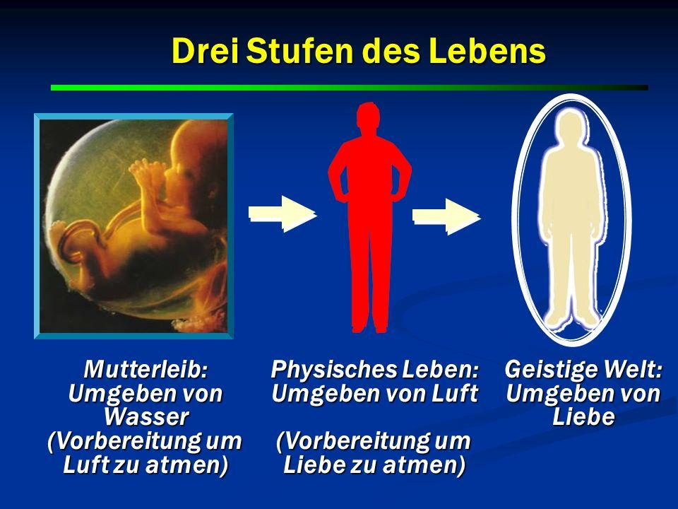 Mutterleib: Umgeben von Wasser (Vorbereitung um Luft zu atmen) Physisches Leben: Umgeben von Luft (Vorbereitung um Liebe zu atmen) Geistige Welt: Umge
