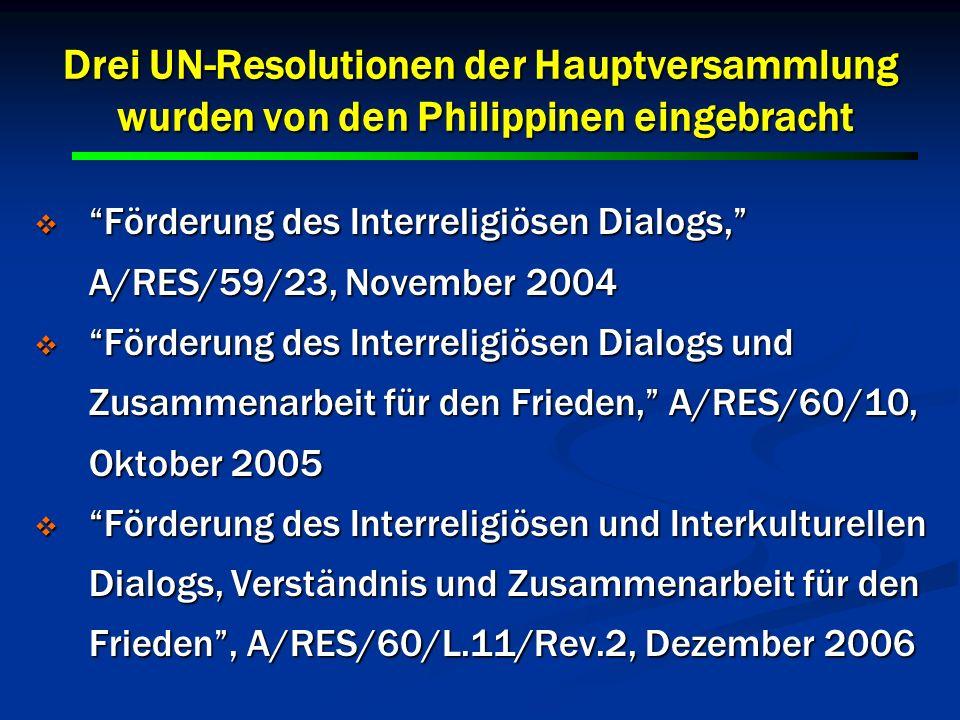 18 Drei UN-Resolutionen der Hauptversammlung wurden von den Philippinen eingebracht Förderung des Interreligiösen Dialogs, A/RES/59/23, November 2004