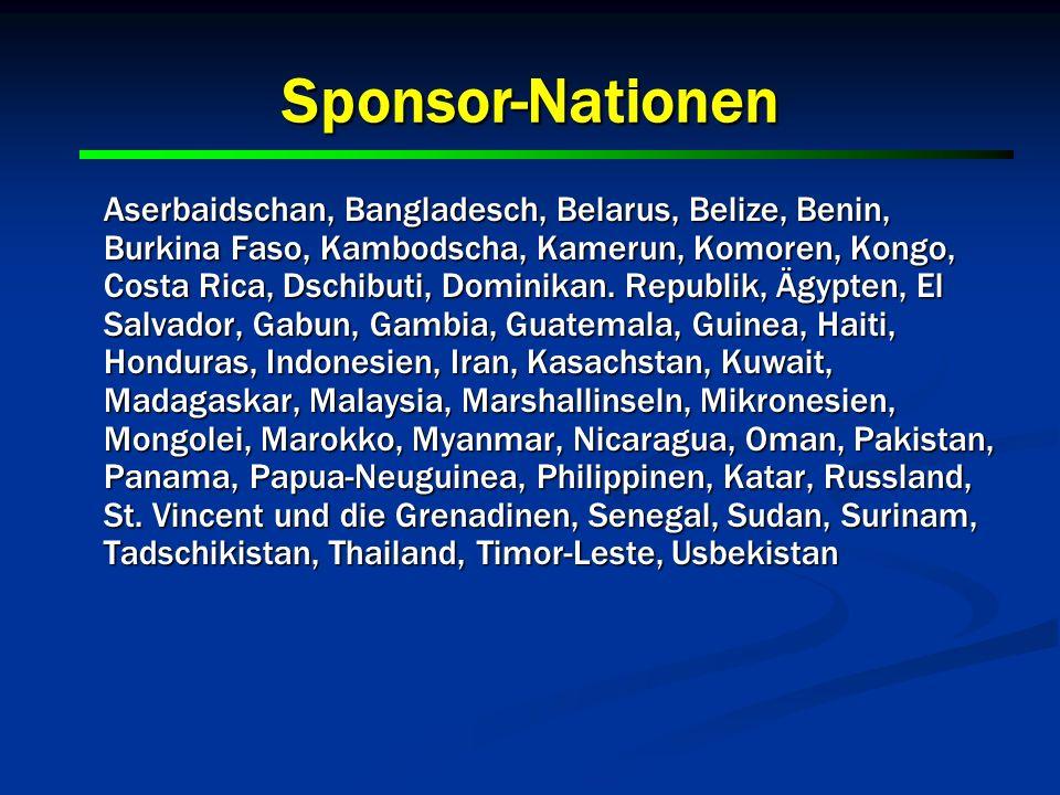 20 Sponsor-Nationen Aserbaidschan, Bangladesch, Belarus, Belize, Benin, Burkina Faso, Kambodscha, Kamerun, Komoren, Kongo, Costa Rica, Dschibuti, Domi