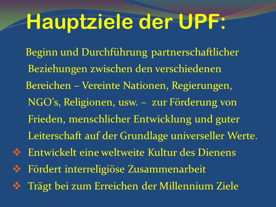 Beginn und Durchführung partnerschaftlicher Beziehungen zwischen den verschiedenen Bereichen – Vereinte Nationen, Regierungen, NGOs, Religionen, usw.