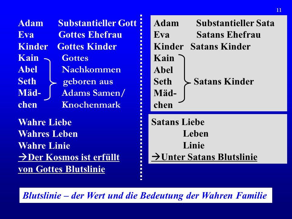 12 Unter Satans Herrschaft 6000 Jahre satanische Geschichte Adam im Bereich von Satans Herrschaft Satans Blutslinie Individuum Familie Stamm Rasse Nation Welt Kosmos Körper Adam fiel im Alter von 16.