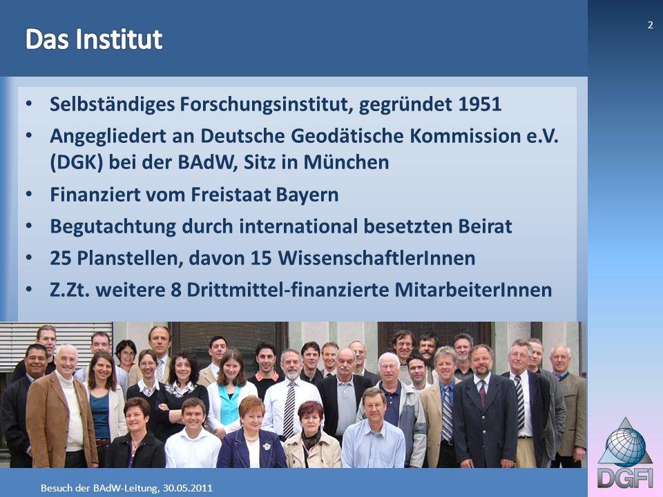 Besuch der BAdW-Leitung, 30.05.2011 2 Selbständiges Forschungsinstitut, gegründet 1951 Angegliedert an Deutsche Geodätische Kommission e.V. (DGK) bei
