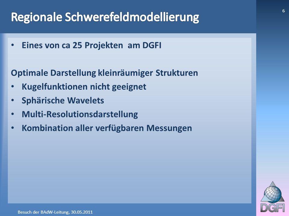 Eines von ca 25 Projekten am DGFI Optimale Darstellung kleinräumiger Strukturen Kugelfunktionen nicht geeignet Sphärische Wavelets Multi-Resolutionsda
