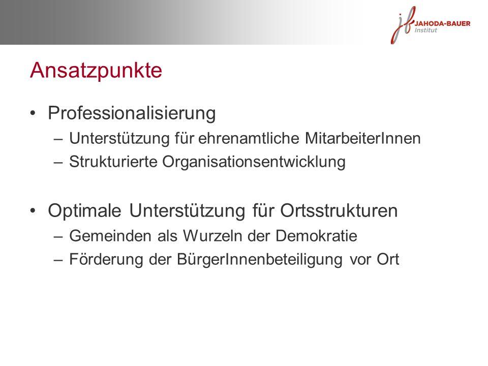 Ansatzpunkte Professionalisierung –Unterstützung für ehrenamtliche MitarbeiterInnen –Strukturierte Organisationsentwicklung Optimale Unterstützung für