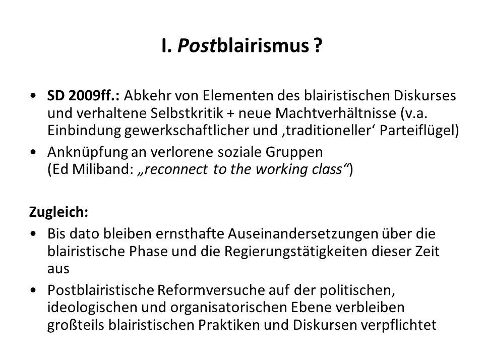 I. Postblairismus ? SD 2009ff.: Abkehr von Elementen des blairistischen Diskurses und verhaltene Selbstkritik + neue Machtverhältnisse (v.a. Einbindun