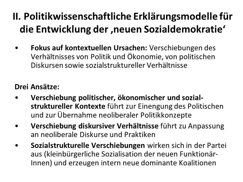 II. Politikwissenschaftliche Erklärungsmodelle für die Entwicklung der neuen Sozialdemokratie Fokus auf kontextuellen Ursachen: Verschiebungen des Ver
