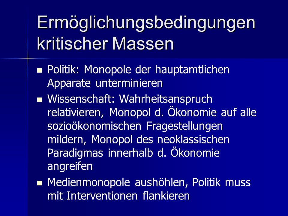 Ermöglichungsbedingungen kritischer Massen Politik: Monopole der hauptamtlichen Apparate unterminieren Wissenschaft: Wahrheitsanspruch relativieren, Monopol d.