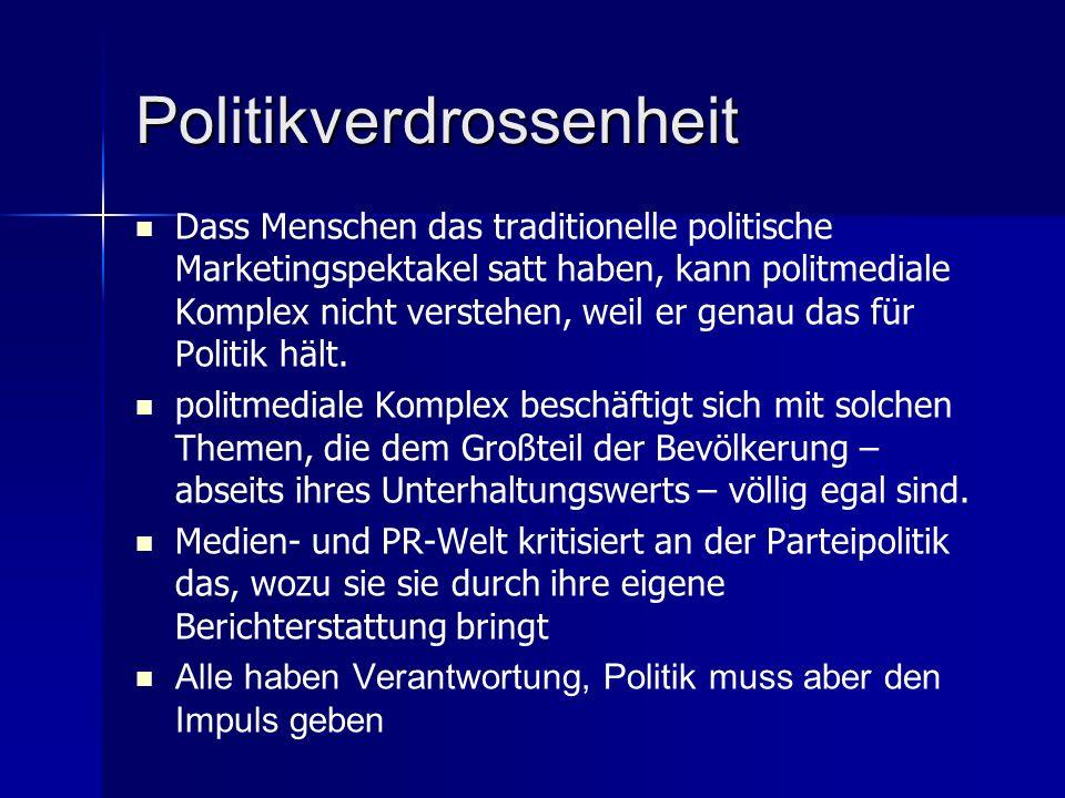 Politikverdrossenheit Dass Menschen das traditionelle politische Marketingspektakel satt haben, kann politmediale Komplex nicht verstehen, weil er genau das für Politik hält.