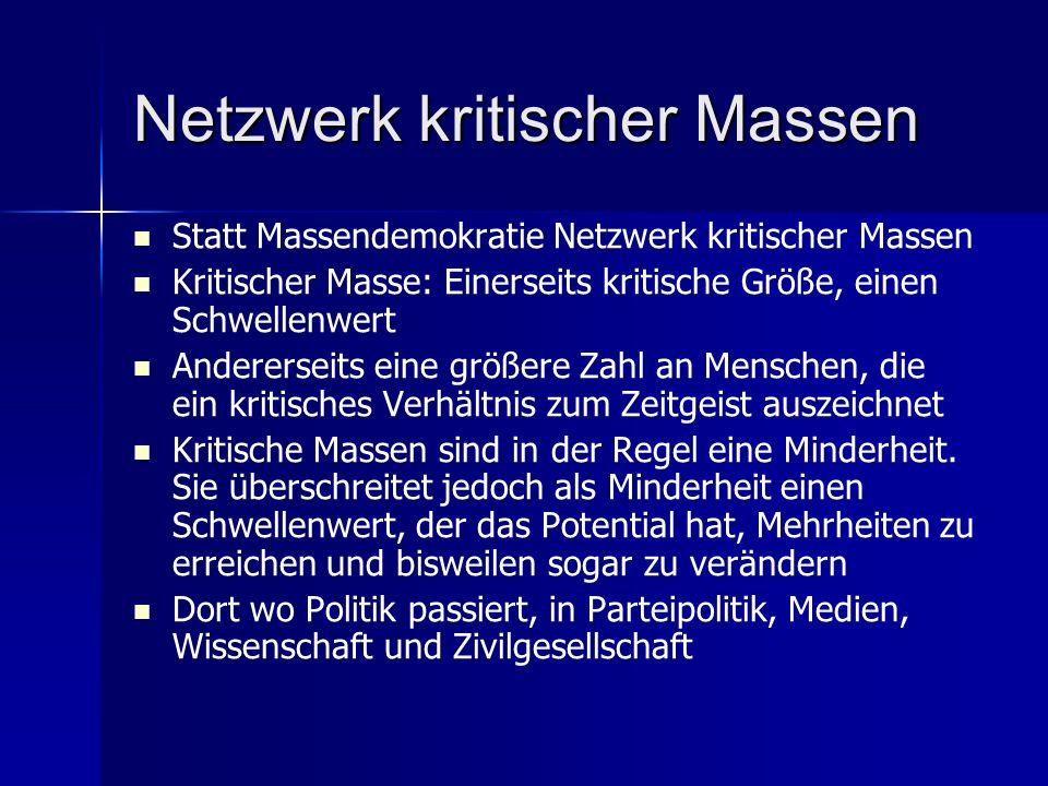 Netzwerk kritischer Massen Statt Massendemokratie Netzwerk kritischer Massen Kritischer Masse: Einerseits kritische Größe, einen Schwellenwert Andererseits eine größere Zahl an Menschen, die ein kritisches Verhältnis zum Zeitgeist auszeichnet Kritische Massen sind in der Regel eine Minderheit.